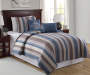 Legacy Stripe Blue & Brown Twin 4-Piece Quilt Set