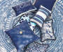 "Leonie Navy Blue Paisley & Stripe Reversible Outdoor Lumbar Throw Pillow, (13"" x 20"")"