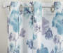 Levine Aqua Watercolor Flowers Chenille Curtain Panel Pair 84 inches Pattern Detail