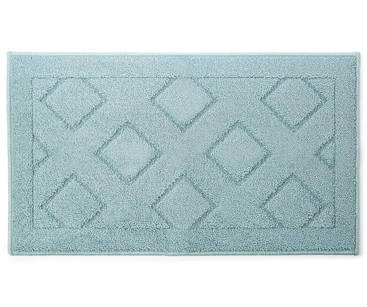 Light Blue Diamond Accent Rug 1 feet 8 inch x 2 feet 10 inch silo front