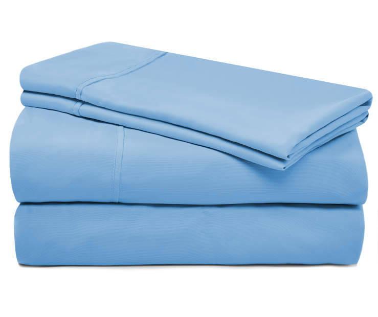 Light Blue Microfiber Queen 4 Piece Sheet Set silo front