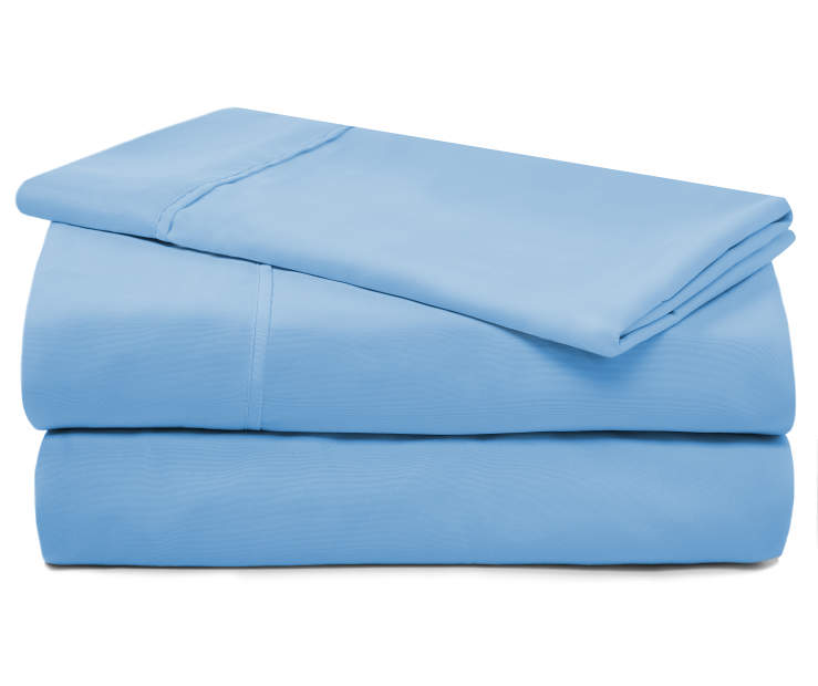 Light Blue Microfiber Twin 3 Piece Sheet Set silo front