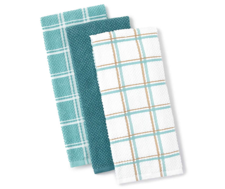 Light Blue Plaid Kitchen Towels 3 Pack Fanned Silo