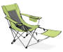 Light Green Quad Chair with Footrest silo angled