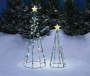 Light Up Twinkle String Trees with Green Wires, Star Topper and Multi Color Bulbs Side by Side in Outdoor Environment Image