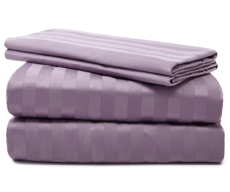 Lilac 320 Thread Count 4 Piece King Sheet Set Folded and Stacked Silo Image