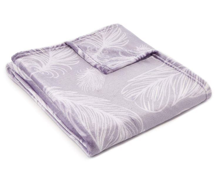 Lilac Feather Velvet Plush Throw silo angled