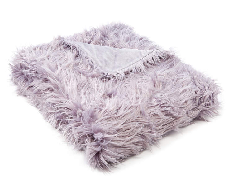 Lilac Mongolian Faux Fur Luxe Throw silo front