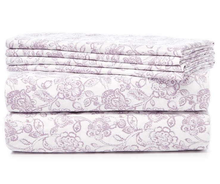 Lilac and White Floral Microfiber 6 Piece Queen Sheet Set Stacked and Folded Silo Image