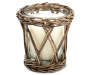 Lily and Peony Candle in Rattan Frame 8 and a half ounces Silo Front View