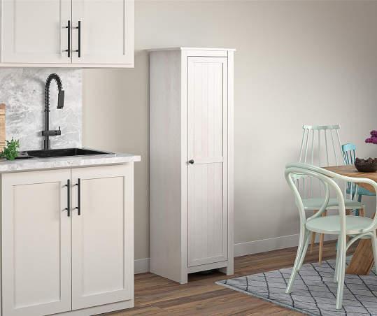Ameriwood Lincoln Magnolia Oak White Single Door Kitchen Pantry