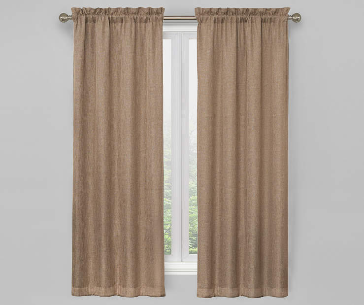 Linen Ivory Bergen Blackout Curtain Panel Pair 63 Inches On Window Room Environment Lifestyle Image