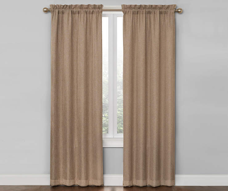 Linen Ivory Bergen Blackout Curtain Panel Pair 84 Inches On Window Room Environment Lifestyle Image