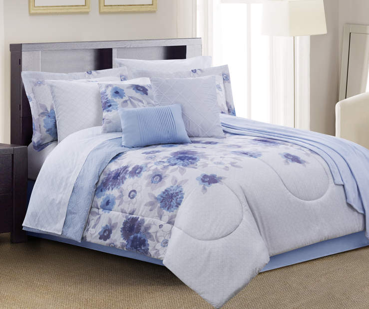Liv Purple Floral Queen 12 Piece Comforter Set lifestyle