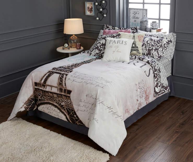 living colors aqua mauve paris 12 piece reversible comforter sets big lots. Black Bedroom Furniture Sets. Home Design Ideas