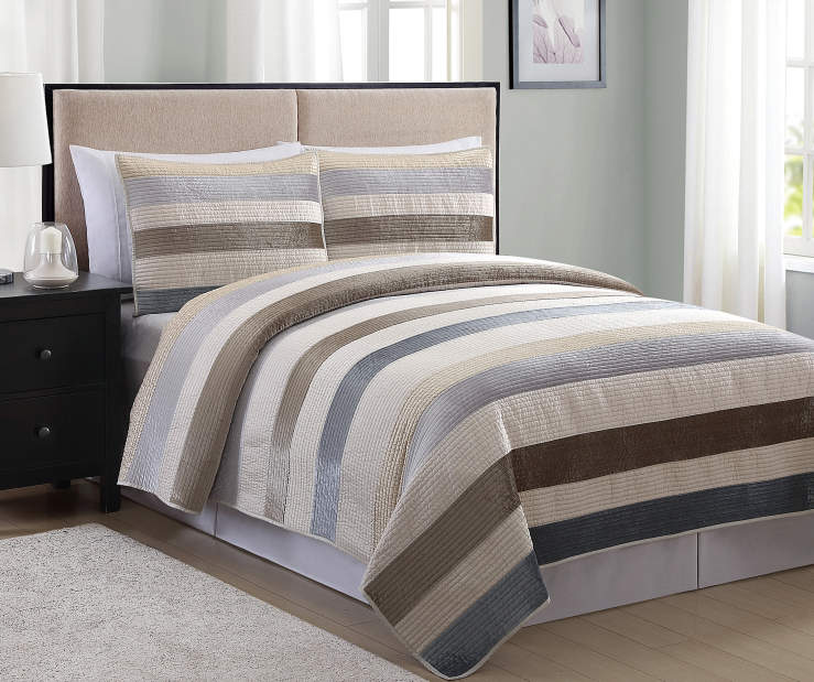 Living Colors Ivory, Gray & Taupe Velvet Satin 3-Piece ...