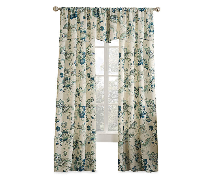 Living Colors Jacobean Blue Floral Curtain Panels And