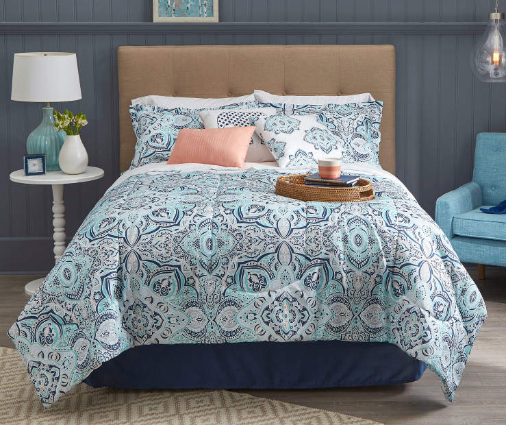 Living Colors Lucie Navy Aqua Amp Coral 12 Piece Comforter