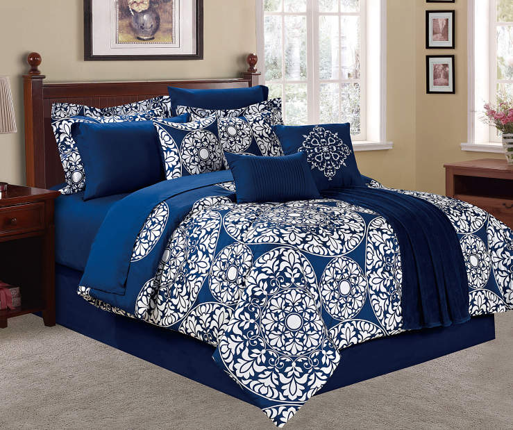 Living Colors Suzani Navy Amp White 12 Piece Comforter Sets