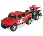 Loaded Ridez Red Hummer H3T and ATV Out of Package Silo Image