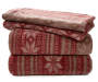 Lodge Red and Brown 4 Piece Fleece Queen Sheet Set Stacked and Folded Silo Image