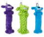 Loofa Dog Toy Set 3 Piece Purple Blue Green Silo Image