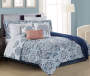Lucie Navy Aqua and Coral 12 Piece Full Comforter Set bedroom setting