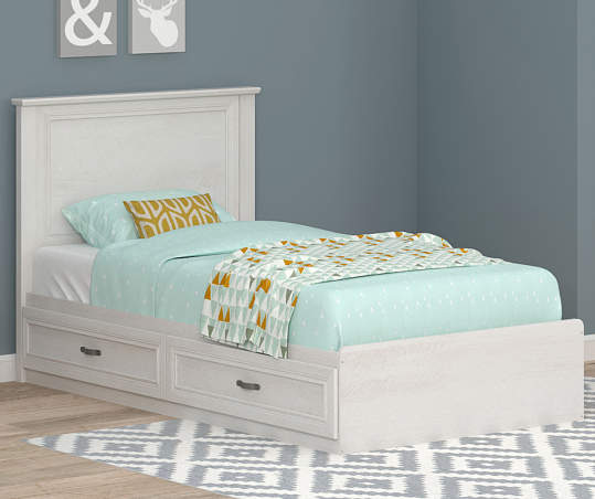Ameriwood Magnolia Oak White Twin Mates, How Large Is A Twin Bed Frame