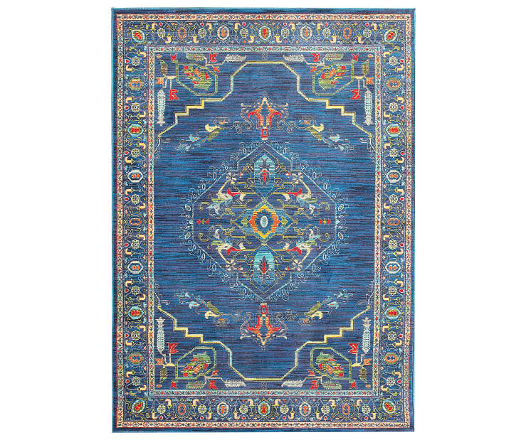 Macy Blue Area Rug 6 Feet 7 Inches by 9 Feet 6 Inches Overhead View Silo Image