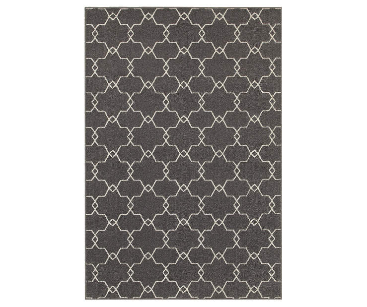 Maddox Gray Area Rug 6 Feet 7 Inches by 9 Feet 6 Inches Overhead View Silo Image