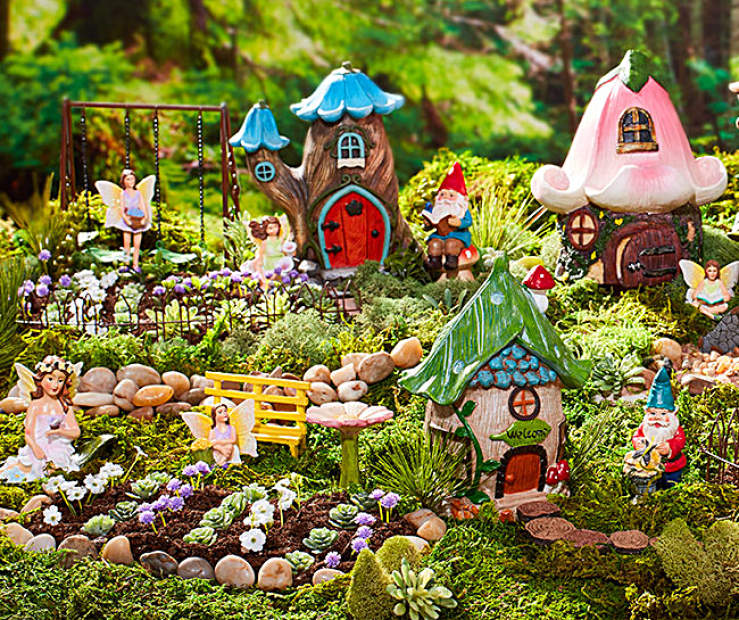These Fairies And Gnomes Love Taking A Stroll Through Their Nature Inspired Village Ed With Decorative Moss Pebbles Each Piece Comes To Life