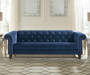Malchin Navy Blue Tufted Chesterfield Sofa lifestyle