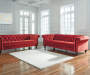 Malchin Red Tufted Chesterfield Sofa lifestyle