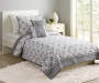 Manhattan Gray and White Medallion 4 Piece Twin Quilt Set lifestyle image