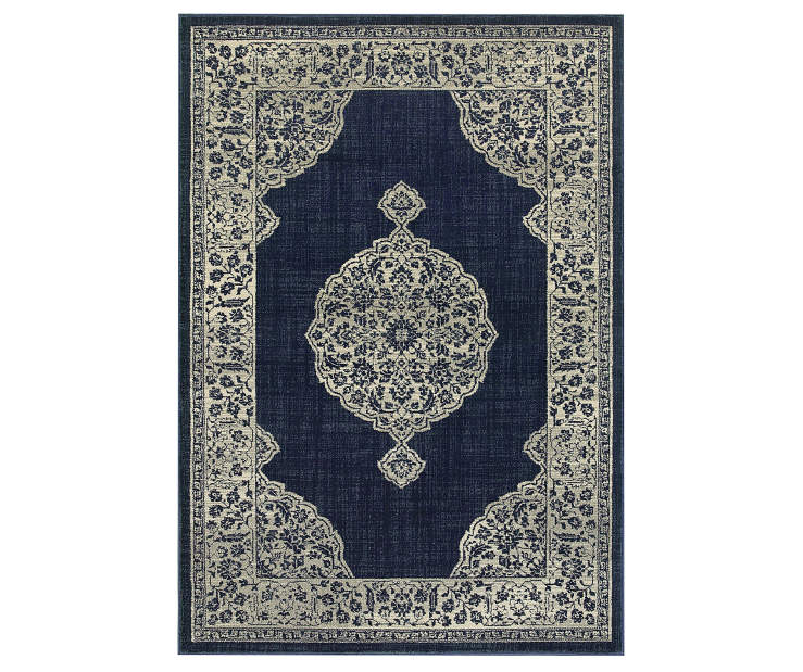 Manor Navy Area Rug 3 Feet 10 Inches by 5 Feet 5 Inches Overhead View Silo Image