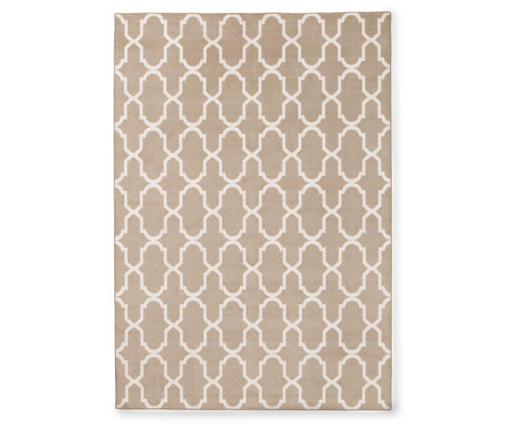 Maples Collection Beige Tile Area Rug 5 by 7 feet Silo