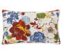 Margaux Blue and Red Floral Outdoor Lumbar Throw Pillow 12 inches by 20 inches Silo Image