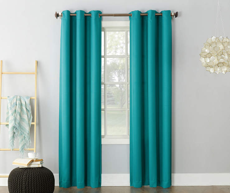 Marine Teal Montego Grommet Curtain Panel 84 Inches On Window Room Environment Lifestyle Image