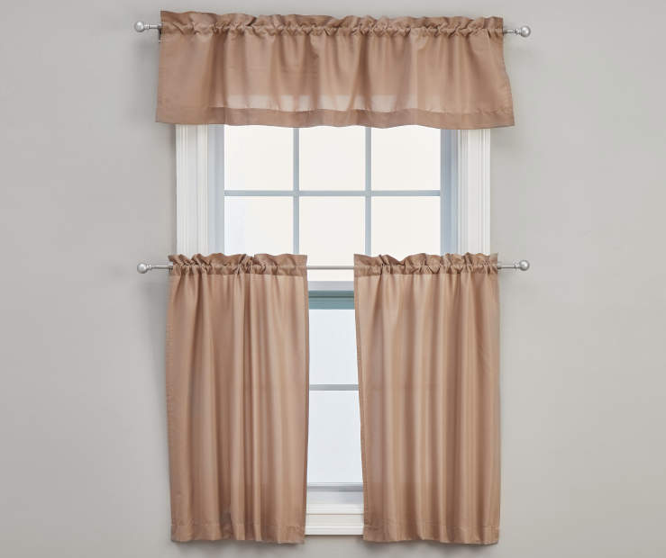Marla Beige Tier and Valance Set 3-Piece On Window