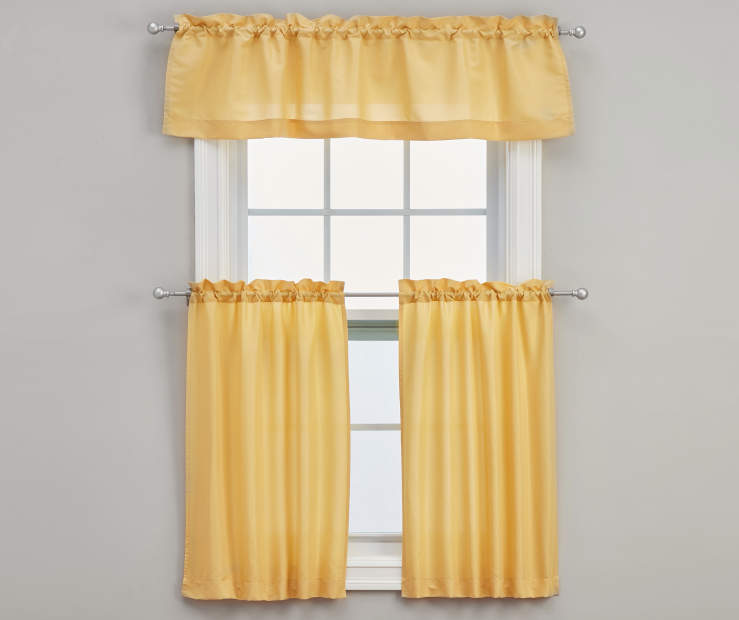Marla Gold Tier and Valance Set 3-Piece On Window