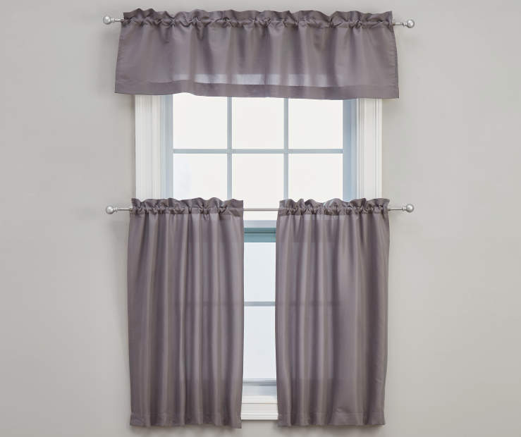 Marla Gray Tier and Valance Set 3-Piece On Window