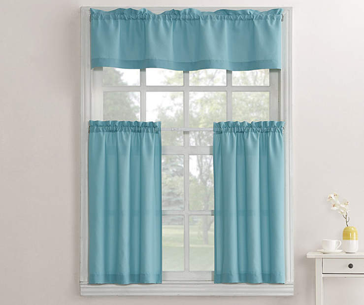 Marla Mineral Blue Tier and Valance 3 Piece Set On Window Lifestyle Image