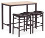 Max Brown and Blonde 3 Piece Pub Table Set silo angled