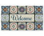 Medallion Tiles Welcome Masterpiece Outdoor Doormat 18 Inches by 30 Inches Overhead View Silo Image