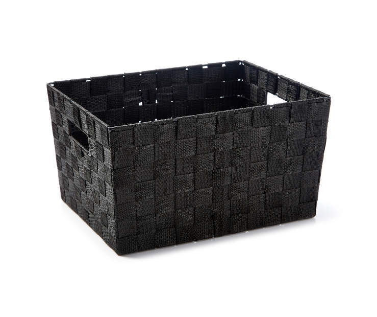 Medium Black Woven Strap Bin silo angled
