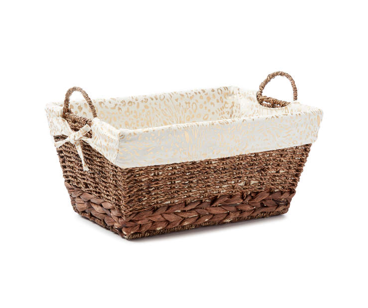 Medium Brown Water Hyacinth Bin with Cheetah Print Liner silo angled