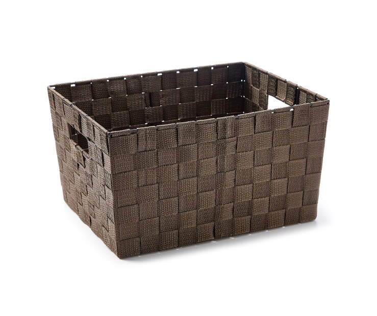 Medium Brown Woven Strap Bin silo angled