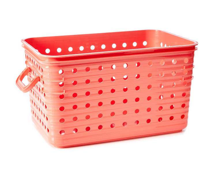 Medium Coral Dot Basket silo side view