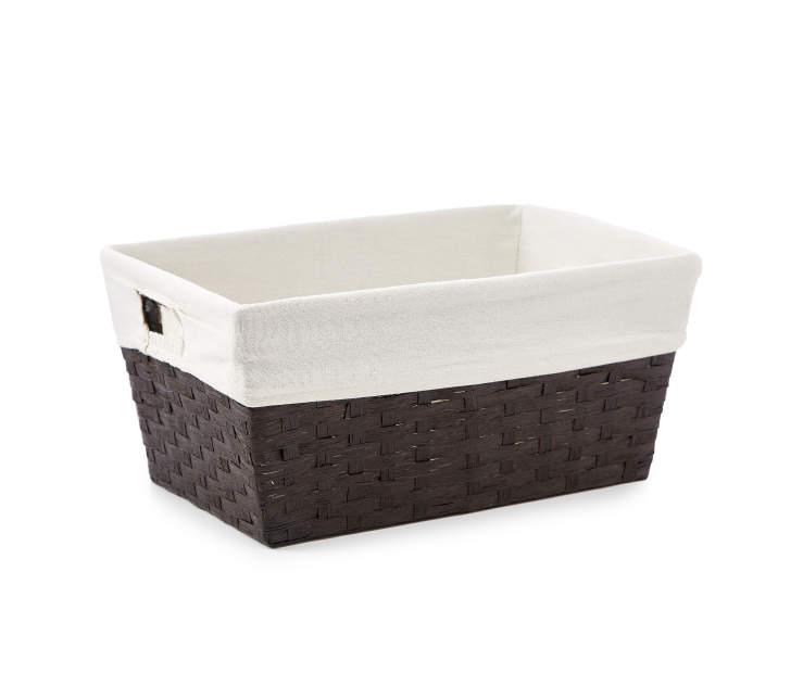 Medium Espresso Paper Rope Storage Bin with Fabric Liner silo angled