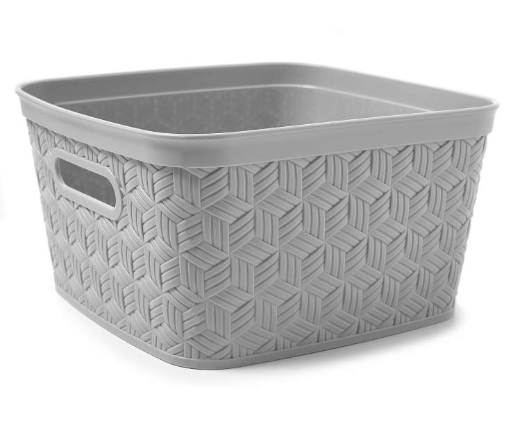 Medium Gray Closed Weave Flex Basket silo angled